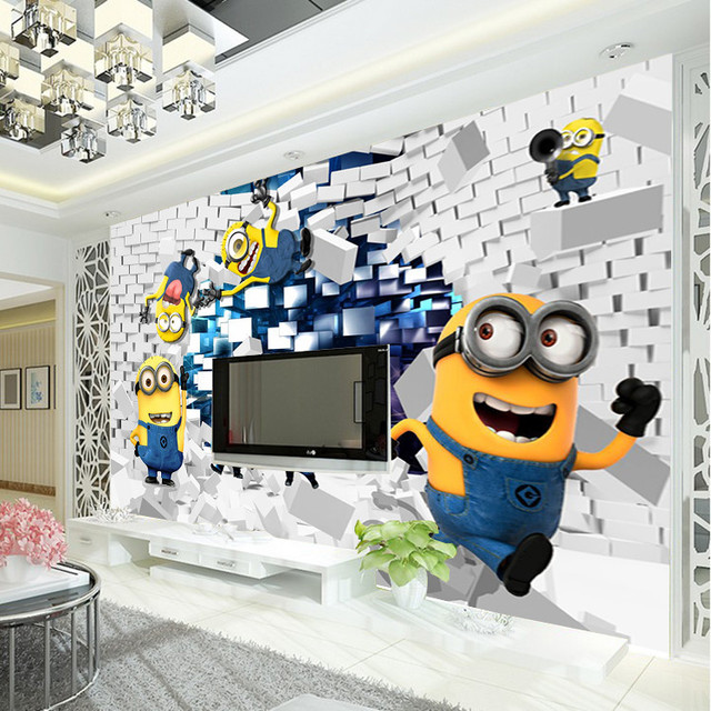3d minions photo wallpaper cartoon despicable me wall mural silk wallpaper boys bedroom kid room decor