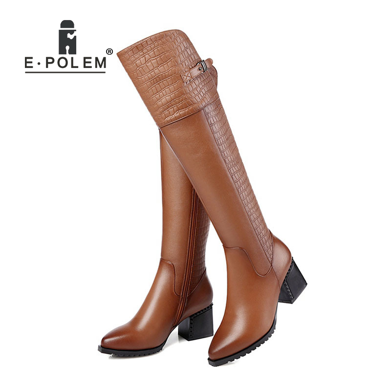 Vintage  Boots Warm Velvet Lining Embossed Knee Boots Pointed Toe Side Zipper Long Boots Fashion Female Motorcycle BootiesVintage  Boots Warm Velvet Lining Embossed Knee Boots Pointed Toe Side Zipper Long Boots Fashion Female Motorcycle Booties