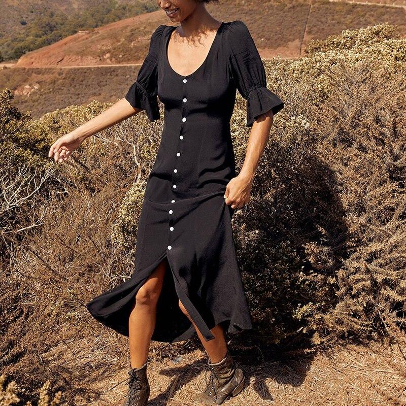 Haute qualité vacances bohème Vintage robe femmes 2019 été élégant avant boutons Flare manches robe Midi femme Vestidos