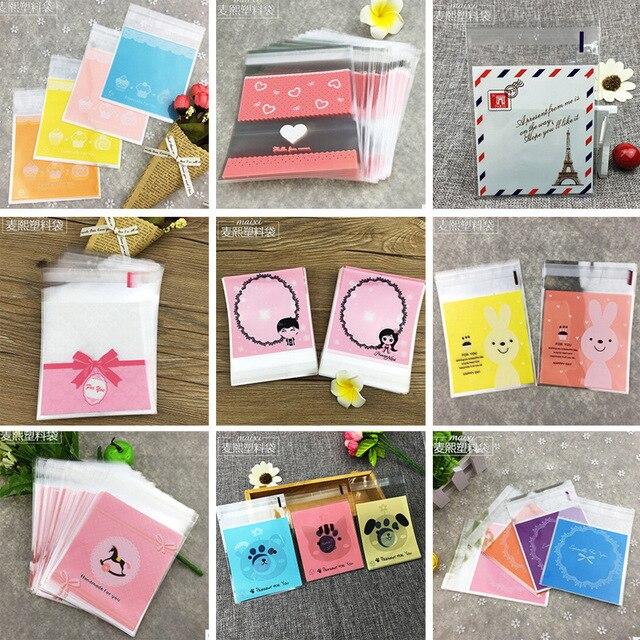 100ps/set 10x10cm 28 Colors dots Self-adhesive Gift Food Packing bag Cute Small Biscuit bag Cellophane Bag  Plastic Bag/retail