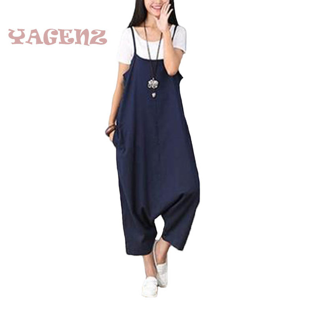 5ddd400c3d36 2019 Women Casual Sleeveless Jumpsuit Cotton Linen Spaghetti Strap Plus  Size Loose Summer New casual dark blue Jumpsuits C27