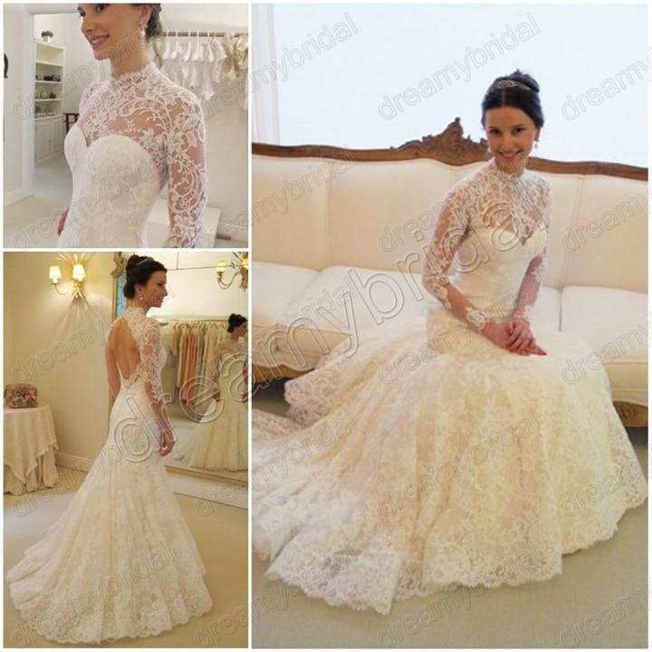 Free shipping vestidos de noiva 2015 high neck mermaid for Long sleeve lace mermaid wedding dress