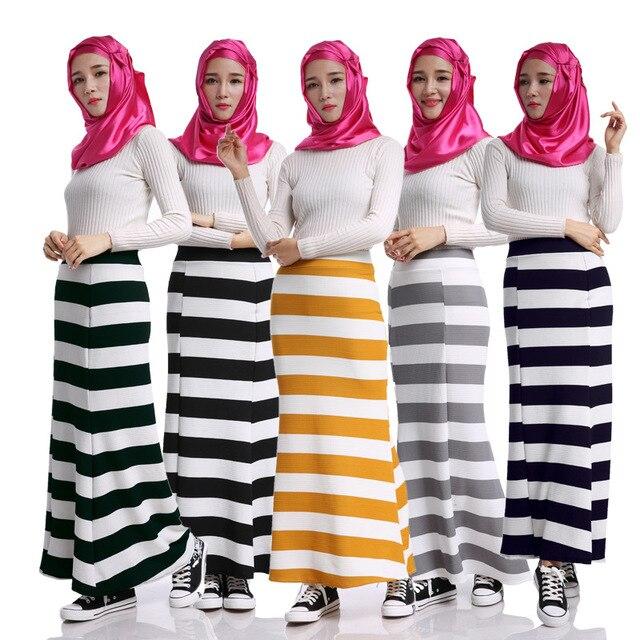 3e43ab5df Islamic Muslim Long Skirt Fashion Stripe Linen Women Arab Skirt Retro Muslim  Women's Clothing Dubai Ladies