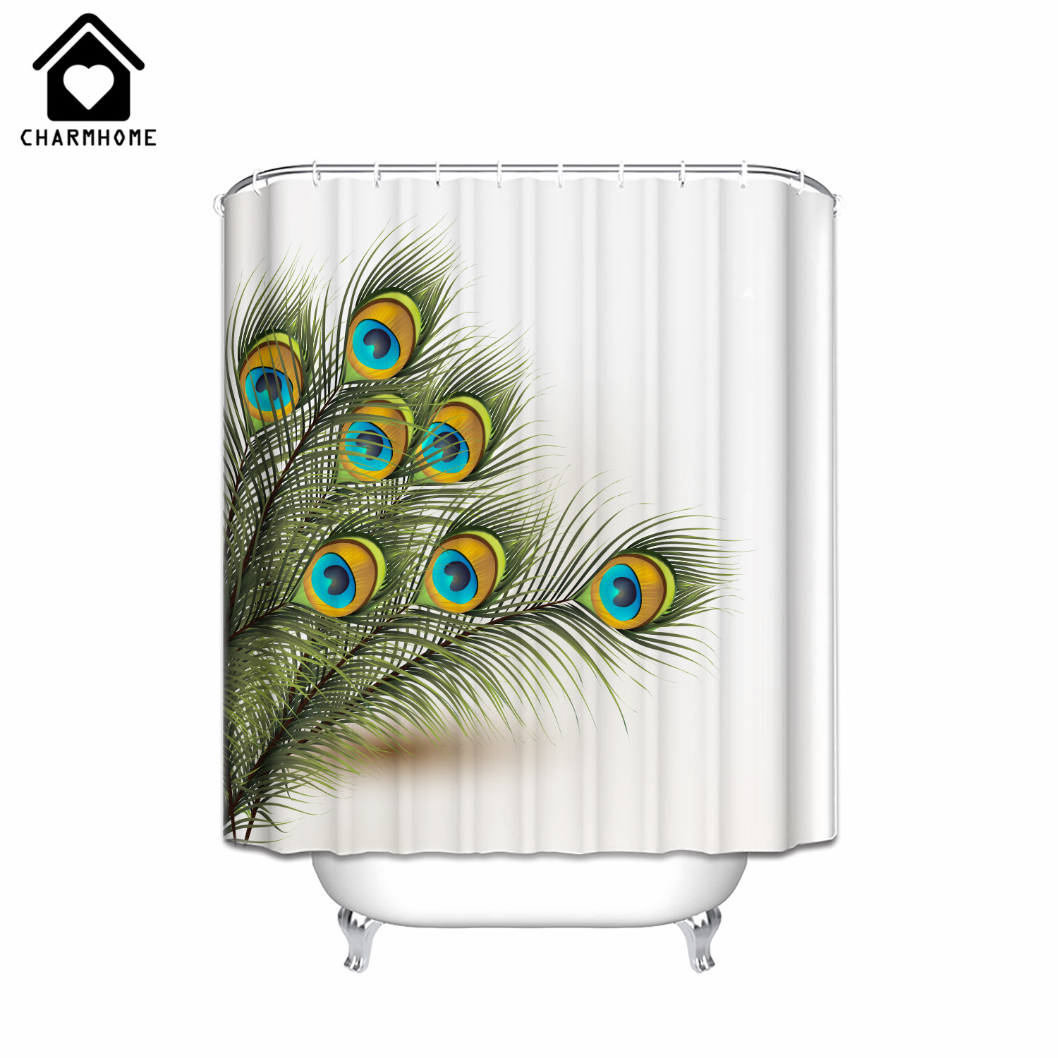 Peacock feather fabric shower curtain quot teal peacock feather quot green - Charmhome Custom Peacock Feather Printing Shower Curtain Waterproof Polyester Fabric Bath Curtain Bathroom Product With 12