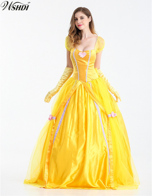 1d3e6383e579 S-XXL Beauty And The Beast Cosplay Costume for Women Halloween Costume  Adult Princess Belle