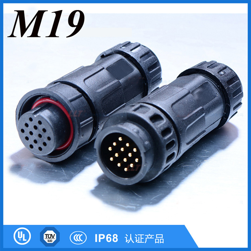 LLT M19 Kabelstecker <font><b>2</b></font> 3 4 5 6 7 8 9 10 12 14 <font><b>Pin</b></font> Wasserdichten IP68 <font><b>LED</b></font> <font><b>Power</b></font> Kabel Kabel Elektrische stecker image