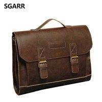 2016 Famous Brand Casual Men Briefcase Crazy Horse Leather Men S Messenger Bag Male Laptop Bag