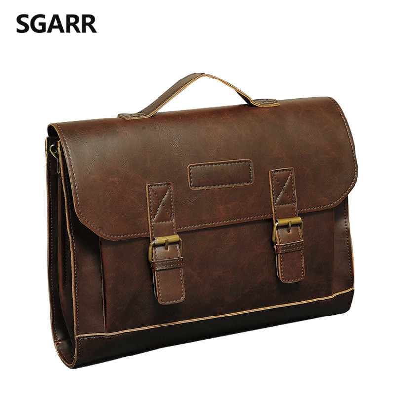 2018 Famous Brand Casual Men Briefcase Crazy Horse PU Leather Men's Messenger Bag Male Laptop Bag Men Business Travel Bag ipad bag handbags male vertical section business briefcase men bag korean trendy men crazy horse bag messenger bag 2016 new