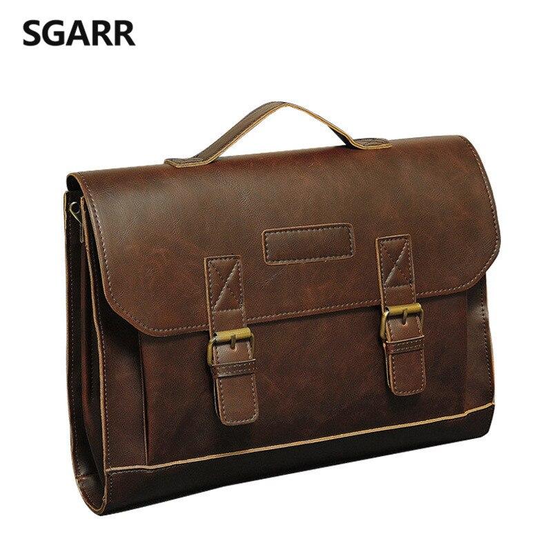 2019 Famous Brand Casual Men Briefcase Crazy Horse PU Leather Men's Messenger Bag Male Laptop Bag Men Business Travel Bag
