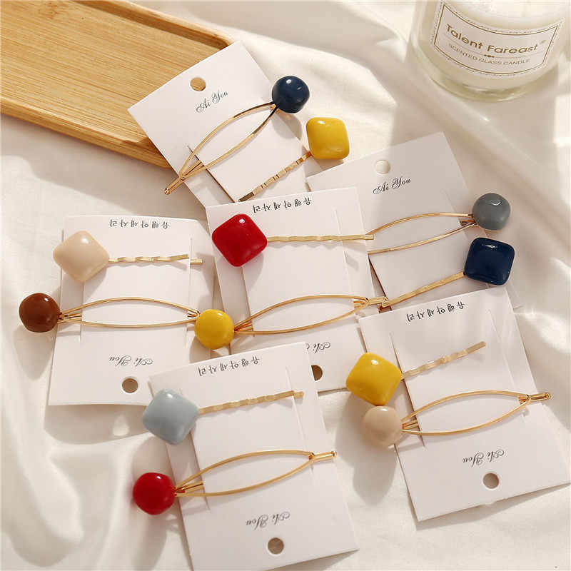 2pcs/set Korea Hairpins Set For Women Girls Trendy Simulated-pearl Stone Hair Clips Female Hairwear Jewelry Accessories