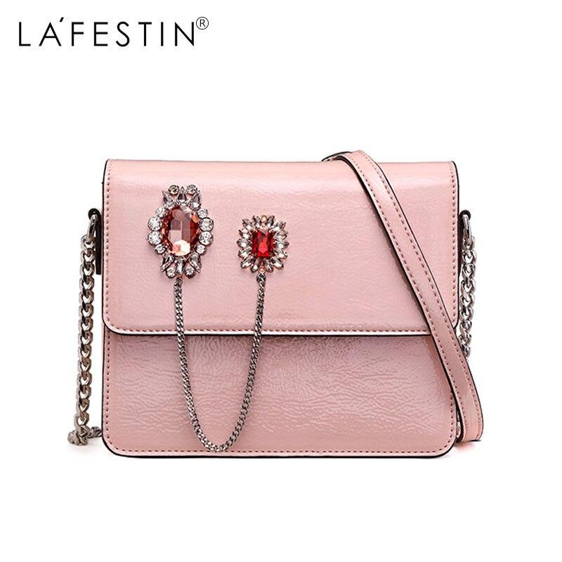LAFESTIN Women Fashion Rhinestone Shoulder Bag Glitter Rhinestone Metal Chain Strap Crossboy Bag Female New 2018 Flap Bag
