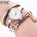 CCQ Fashion Women Bracelet Gold Quartz Watch Wristwatch Women Dress Leather Casual Bracelet Watches Relogio Feminino C68