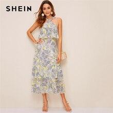שיין לימון הדפסת שכבות לפרוע Hem הלטר שמלת נשים גבוהה מותן ארוך שמלת Boho שרוולים Fit ואבוקת קיץ שמלות