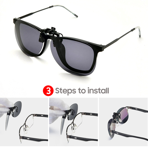 Rimless Round Flip up Clip on Oversized Men Polarized Clip Sunglasses Aviation Polarised Big Driving Prescription Glasses Karachi