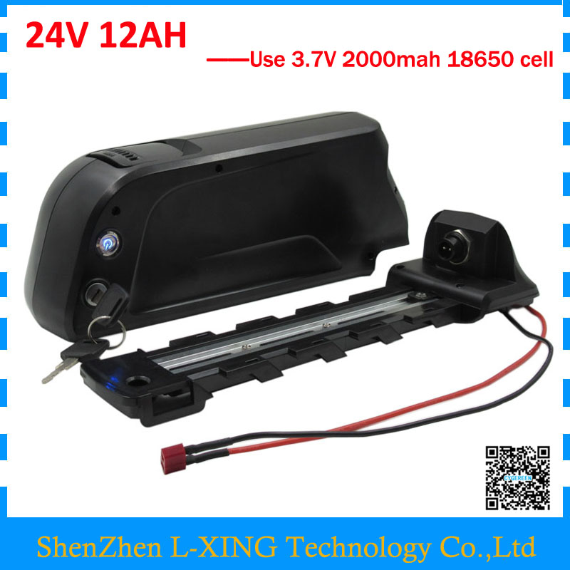 Free customs fee 24V 12AH battery 350W 24 V 12AH lithium battery bottle case use 18650 2000mah cell with USB Port 2A Charger