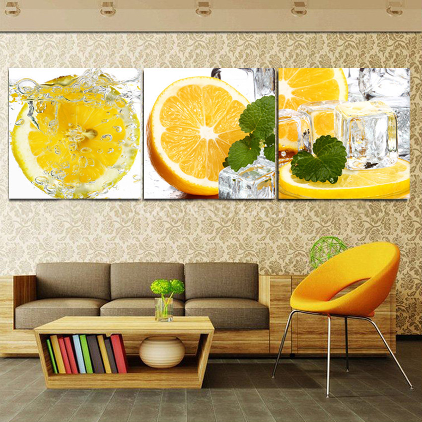 Yellow Lemon Water Modern Fruit Painting On Canvas Art Home Kitchen  Decoration Pictures Hanging On Wall