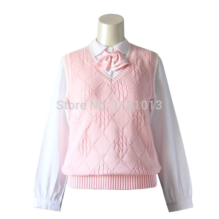 JK Uniforms Pullover Sweater Vest Girls Cute Pink Diamond Twist Style Sweater Vest