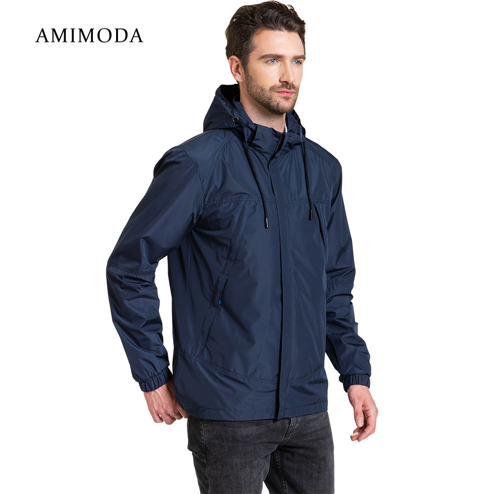 Jackets Amimoda 10026-02 Men\'s Clothing windbreakers for men cloak jacket coat parkas hooded self tie waist solid hooded coat