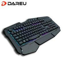 DAREU LK160 LED Aydınlatmalı Lamba Oyun Klavyesi Su Geçirmez Bilek için Atel ile Multimedya Kablolu USB Bilgisayar Klavye Oyun