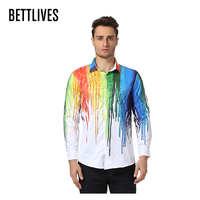 Spring Autumn Brand Mens Dress Shirts Long Sleeve Cotton Shirts Fashion Design Rainbow Pattern Colorful Shirts