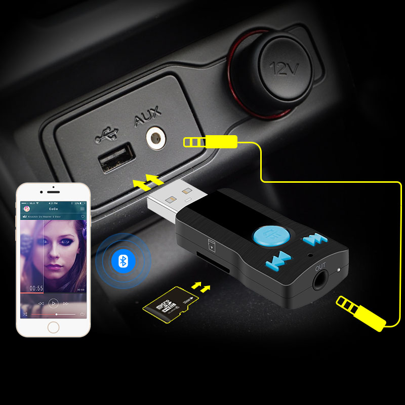Wireless Aux Bluetooth Receiver Car Bluetooth Adapter Car Kit Hands Free Bluetooth Aux Music: Car Wireless Bluetooth AUX Audio Receiver Adapter 3.5mm Jack Aux Bluetooth HandsFree Car Kit