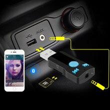 Adaptador Del Receptor de Audio Inalámbrico Bluetooth AUX coche 3.5mm Jack Aux Bluetooth Car Kit Manos Libres soporte de tarjeta TF MP3 Music receptor