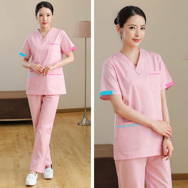 Women's Fashion Medical Uniforms Color Blocking V Neck Scrub Top  With Side Vent Pure Cotton Surgery Scrubs( Just A Shirt)