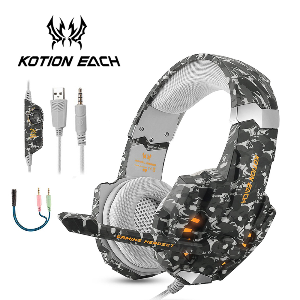 KOTION EACH G9600 Stereo Camouflage Gaming Headset Noise Cancelling Headphones with Mic LED Light for PS4/PC/Xbox One/iPad/PSP g6 tactical smartwatch