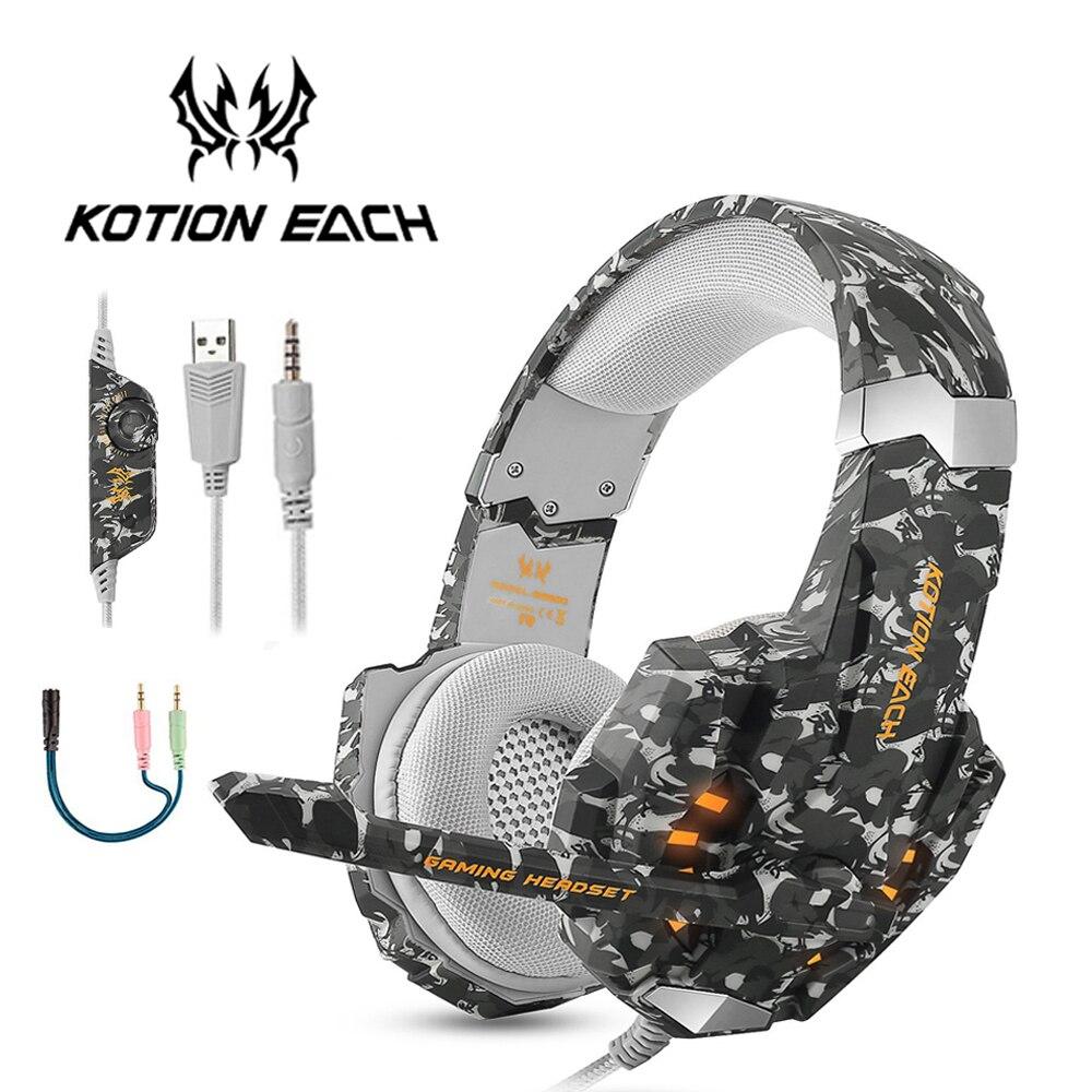 KOTION OGNI G9600 Stereo Camouflage Gaming Headset Cuffie Con Cancellazione  del Rumore con Il Mic HA CONDOTTO la Luce per PS4 PC Xbox 360 un iPad PSP 85c1f1136fe6