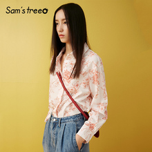 Samstree Autumn Women Chiffon Shirts Floral Print Female Blouse Turn-down Collar Long Sleeve Loose Lady Shirts nicemix 2019 jeans painting blouses female long sleeve turn down collar shirts spring autumn casual loose women blouse shirts