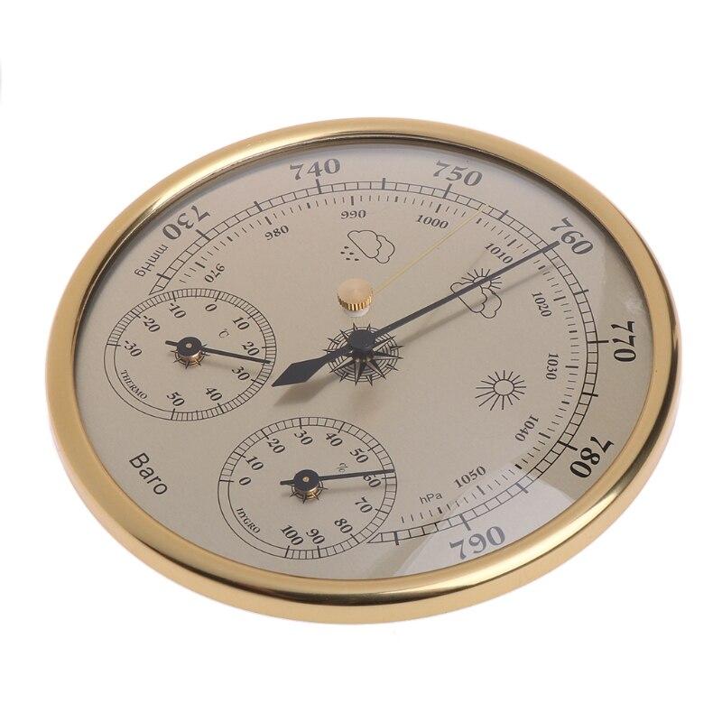 Montado en la pared de la casa los barómetros del higrómetro del termómetro de alta precisión medidor de presión estación meteorológica de aire colgando instrumento
