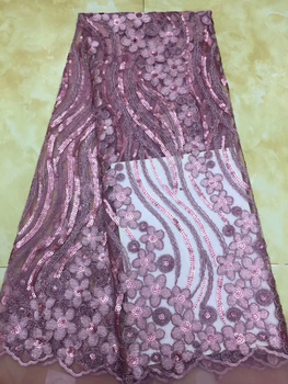 Hot sale african cord lace fabric beautiful Pink cotton lace ribbon nigerian lace fabric for wedding dress CD64
