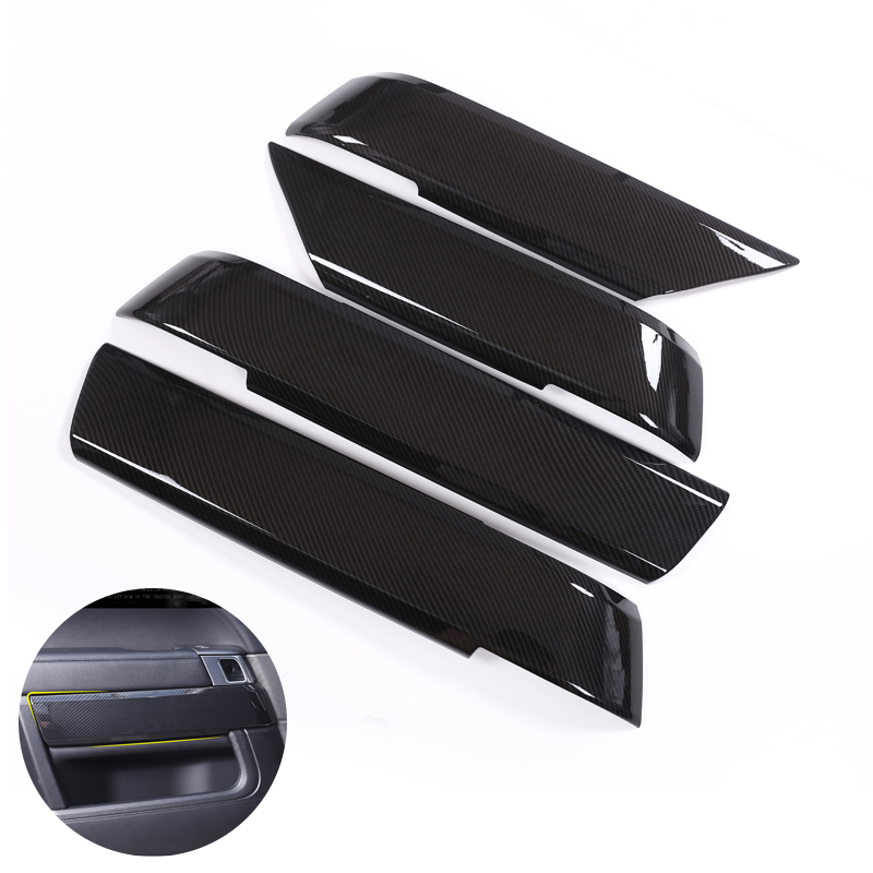 For Land Rover Range Rover Sport RR Sport 2014 2015 2016 2017 4pcs Car Door Handle Panel Armrest Carbon Fiber Texture Cover