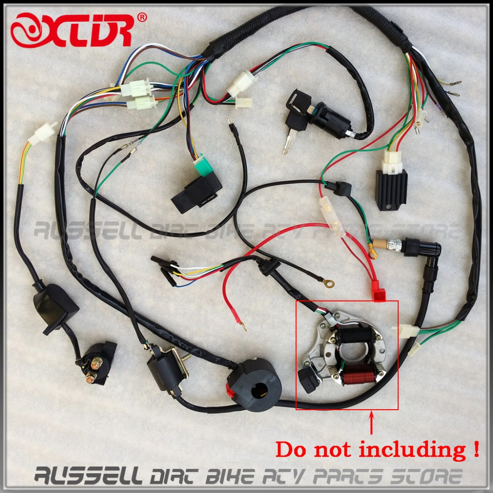 Full Electrics Wiring Harness Coil Cdi Spark Plug Kits For 50cc 70cc Motorcycle Connector Blocks Pena Elektryka Okablowanie Cewki Zaponowej Prostownika Przecznik 110cc 125cc Atv Quad Buggy Gokart