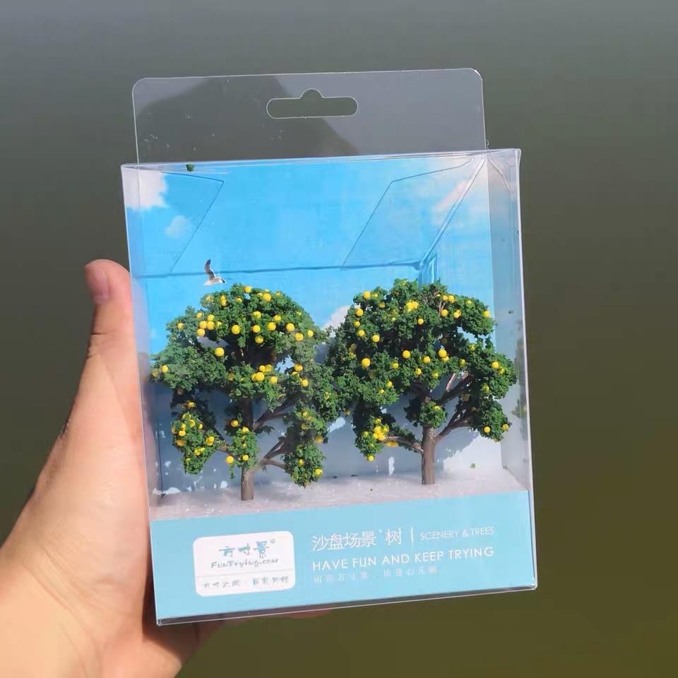2 PCS 1/87 HO Scale Model(Fruit)Trees Tall In 90mm Landscape Model Train Railway/railroad Layout Scenery DIY Miniature Dioramas