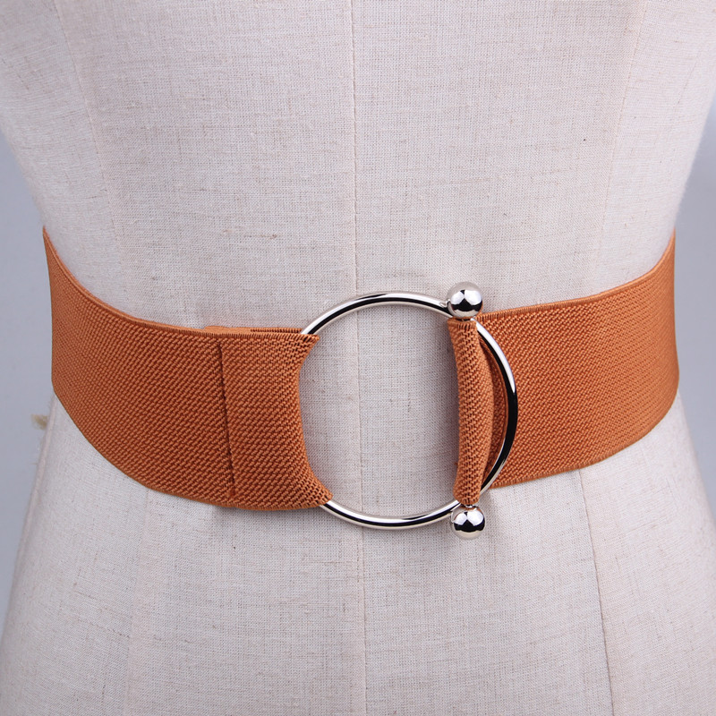 Dress Wide Stretch Waistbands Women Belt Accessories Simple Solid Silver Circle Buckle Waist Band Decorative Cummerbunds Brown