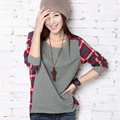 Stylish Women Long Sleeve T shirt Crew Neck Plaid Checked Casual Loose T-shirts Top S-XXL