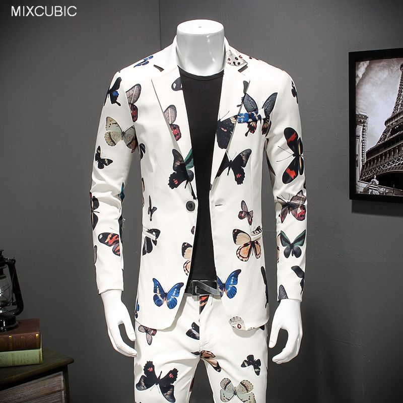 MIXCUBIC Suit Men Spring England-Style Slim Casual Autumn for Size-M-4xl Butterfly