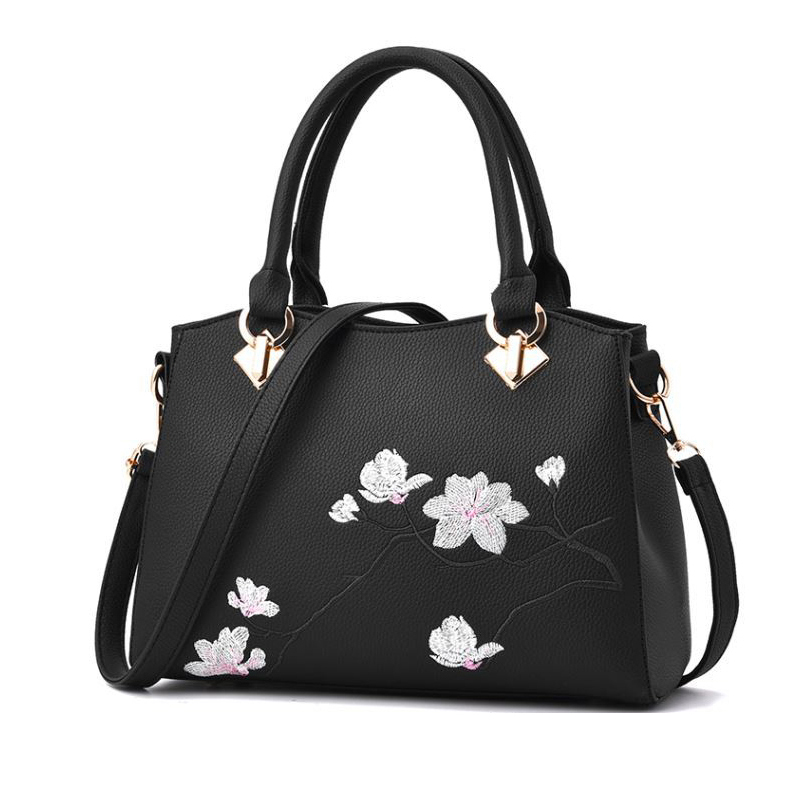2018 Printing Flower Lady Soft Leather Handbag Best Design Women Bags Fashion Top Quality Female Handbags Large Capacity Bag