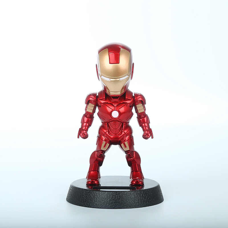 2017 Q версия фигурка супергероя Фигурка «Железный человек» из ПВХ фигурка солнечной энергии встряхнуть головой игрушки 12 см подарок на Рождество игрушки