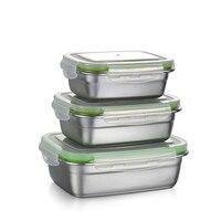Pudełko na lunch ze stali nierdzewnej obiadowy pojemnik do przechowywania żywności szkoły szczelna Box 350/550/850ml w Pudełka śniadaniowe od Dom i ogród na