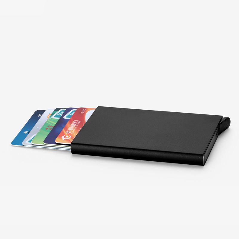 Homens Titular Do Cartão de crédito Fino Anti Proteger Viagem ID Titular Do Cartão Mulheres Carteira Rfid Metal Case Porte Carte