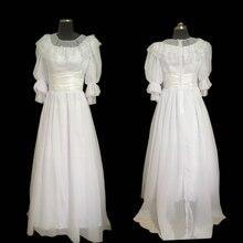 купить New white chiffon Vintage costumes 18th Duchess Retro medieval Renaissance Reenactment Theatre Civil war Victorian dress D-301 дешево