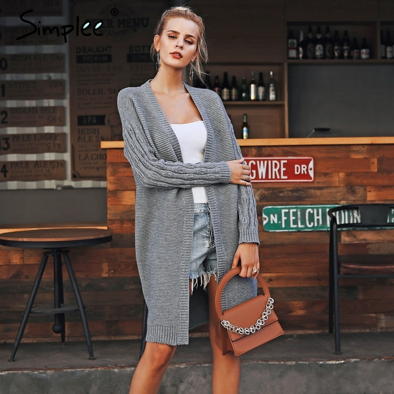 Simplee Casual Knitted Long Cardigan S18ST0035