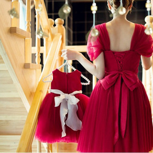 Image 4 - New Arrival Flower Girls Dresses Christmas Red Tulle Graduation Party Wedding Dresses with Flower Sash Formal Kids Gown