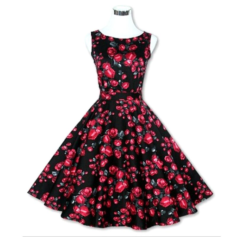 The Goddesses Store 2016 Vintage Women 50s 60s Floral Print Rockabilly Tutu Pinup Sleeveless Ball Gown Evening Party Clubwear Formal Dress