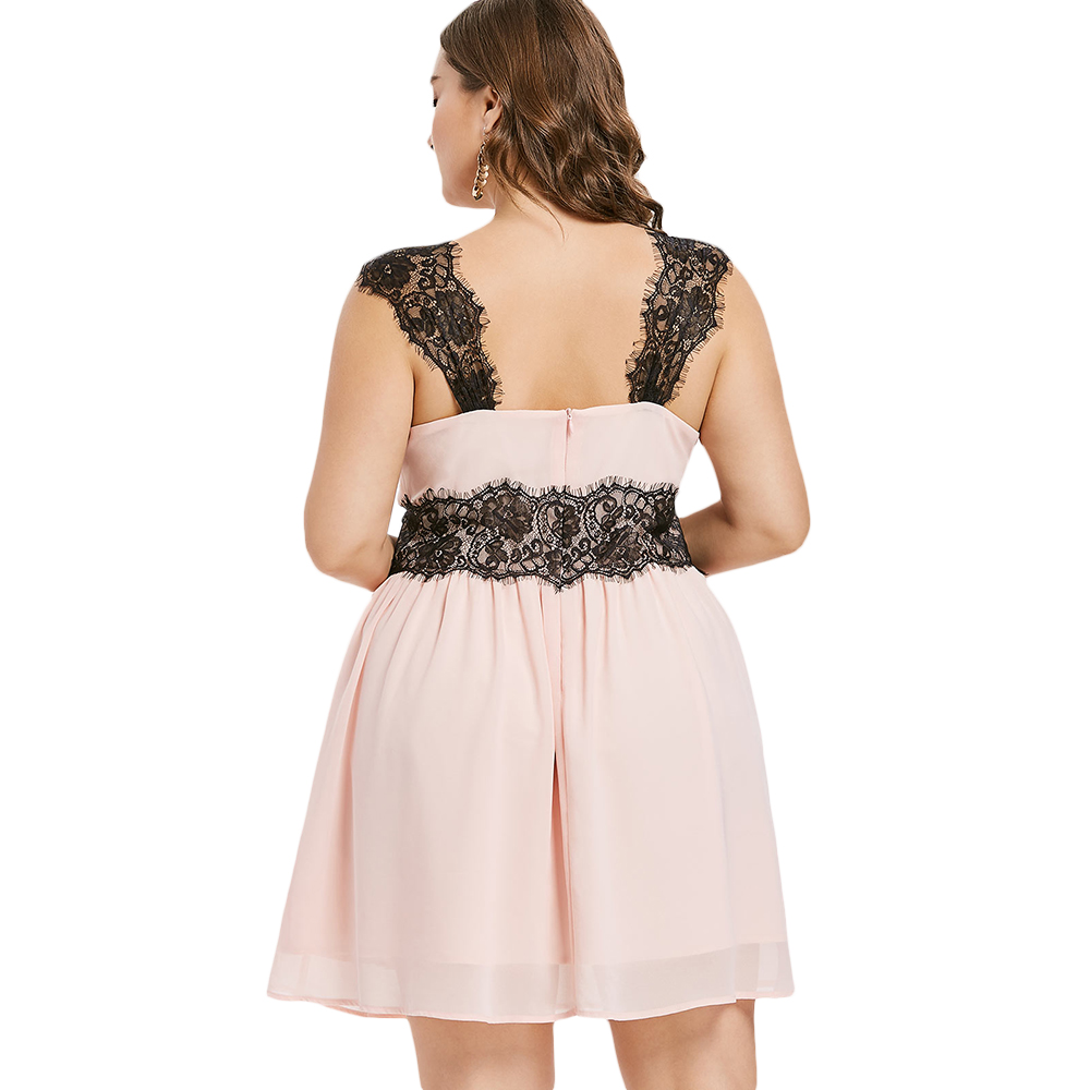 f14abcc579 Aliexpress.com : Buy Kenancy Plus Size Lace Trim Sleeveless Dress Lace  Shoulder Empire Waist Dress Fit and Flare from Reliable Dresses suppliers  on ...