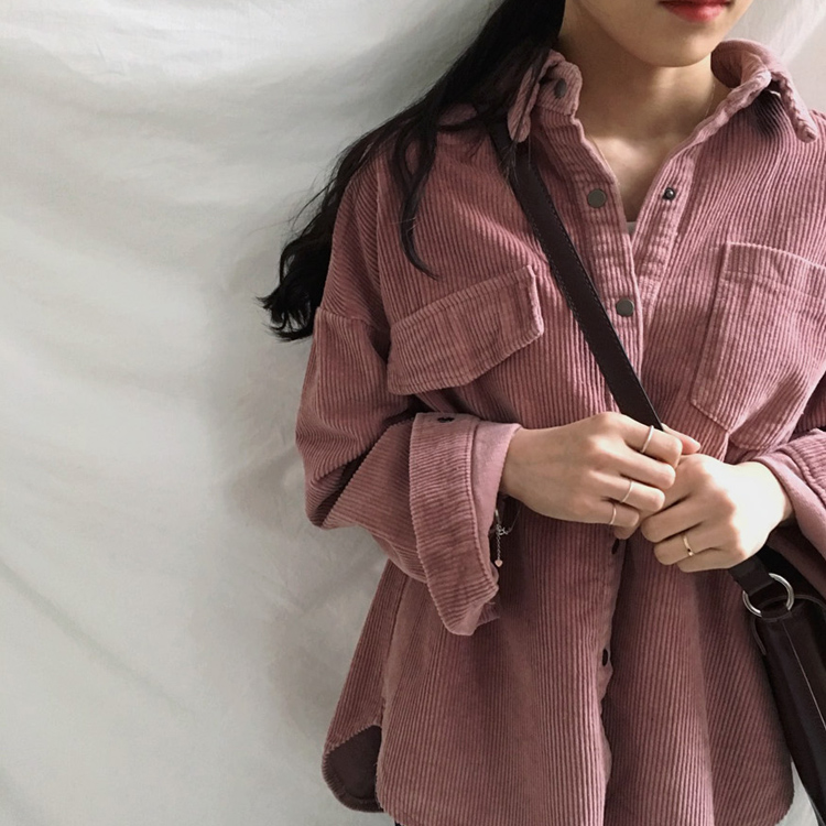 New Harajuku Corduroy Jackets Women Winter Autumn Coats Plus Size Overcoats Female Big Tops Cute Jackets Solid Color Clothing 5