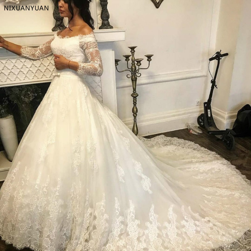 Luxury Wedding Dresses 2020 Ball Gown Vestido De Noiva Boat Neck Robe De Mariee Sexy Cut-out Bridal Dress