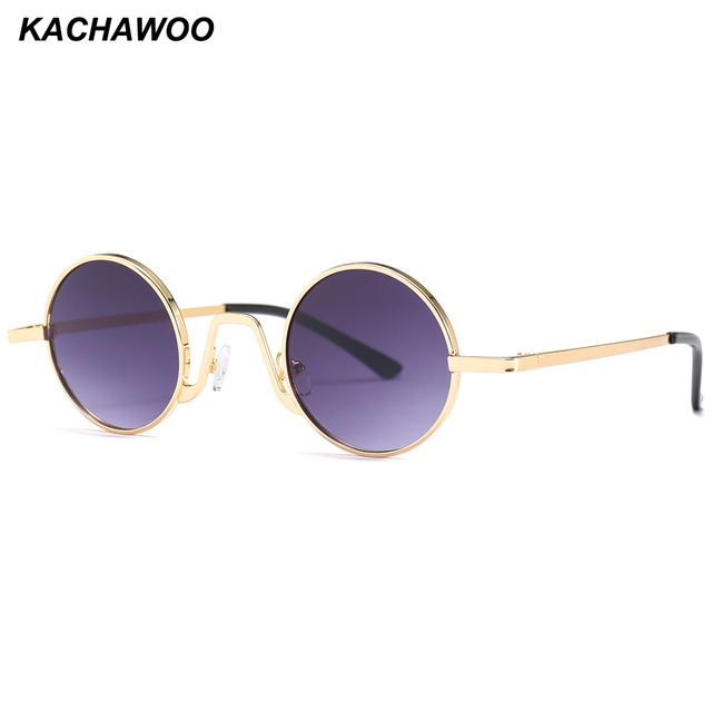 2a4ab060a14 Kachawoo small round sunglasses men 2018 summer metal frame red gold black retro  vintage sun glasses for women UV400